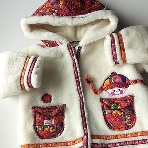 Flower Red Head Girl Faux Fur Winter Coat * Size 4T